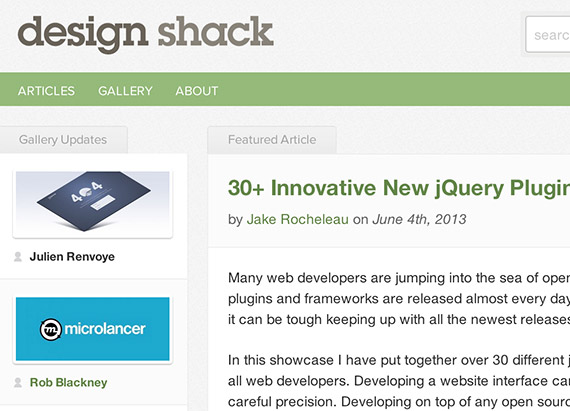 Designshack web design blog top blogs follow